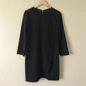 J. Crew Overlapped Long Sleeve Shift Dress Black